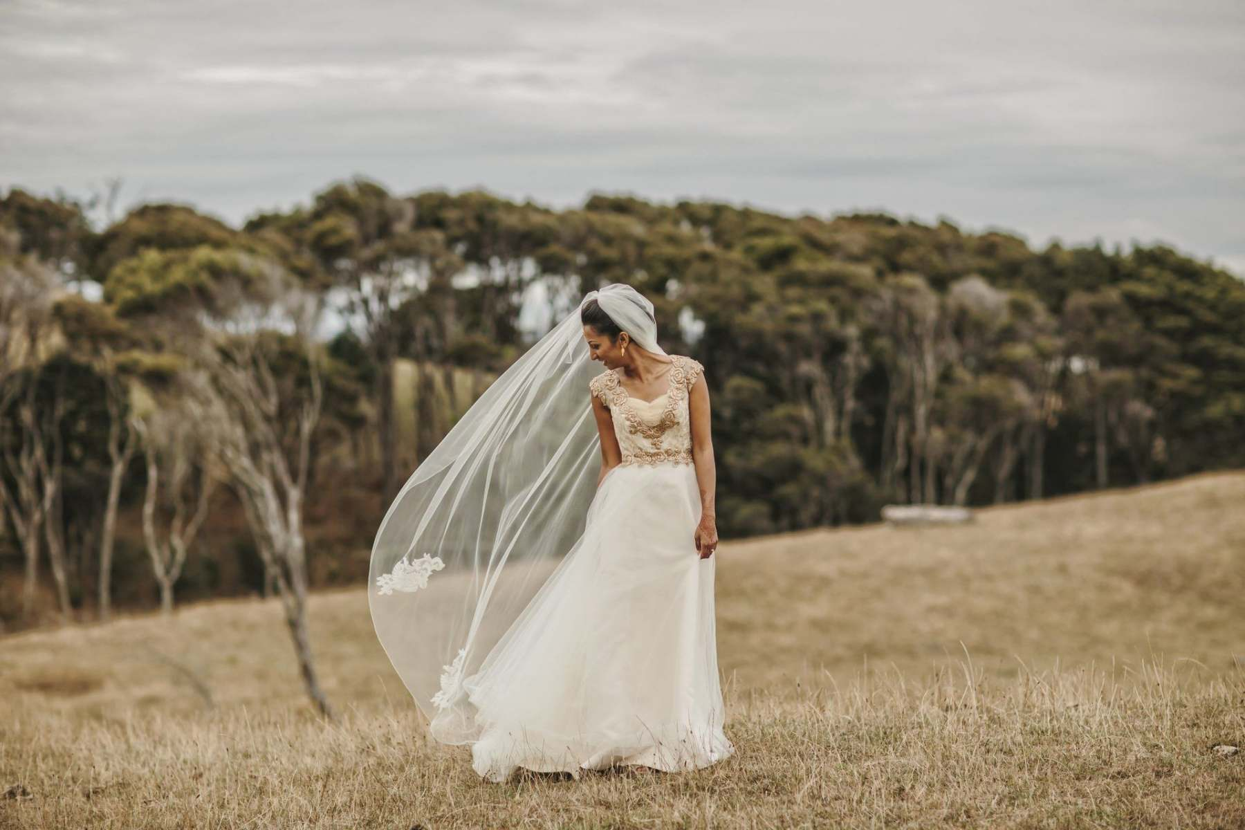 golden and ivory wedding dress