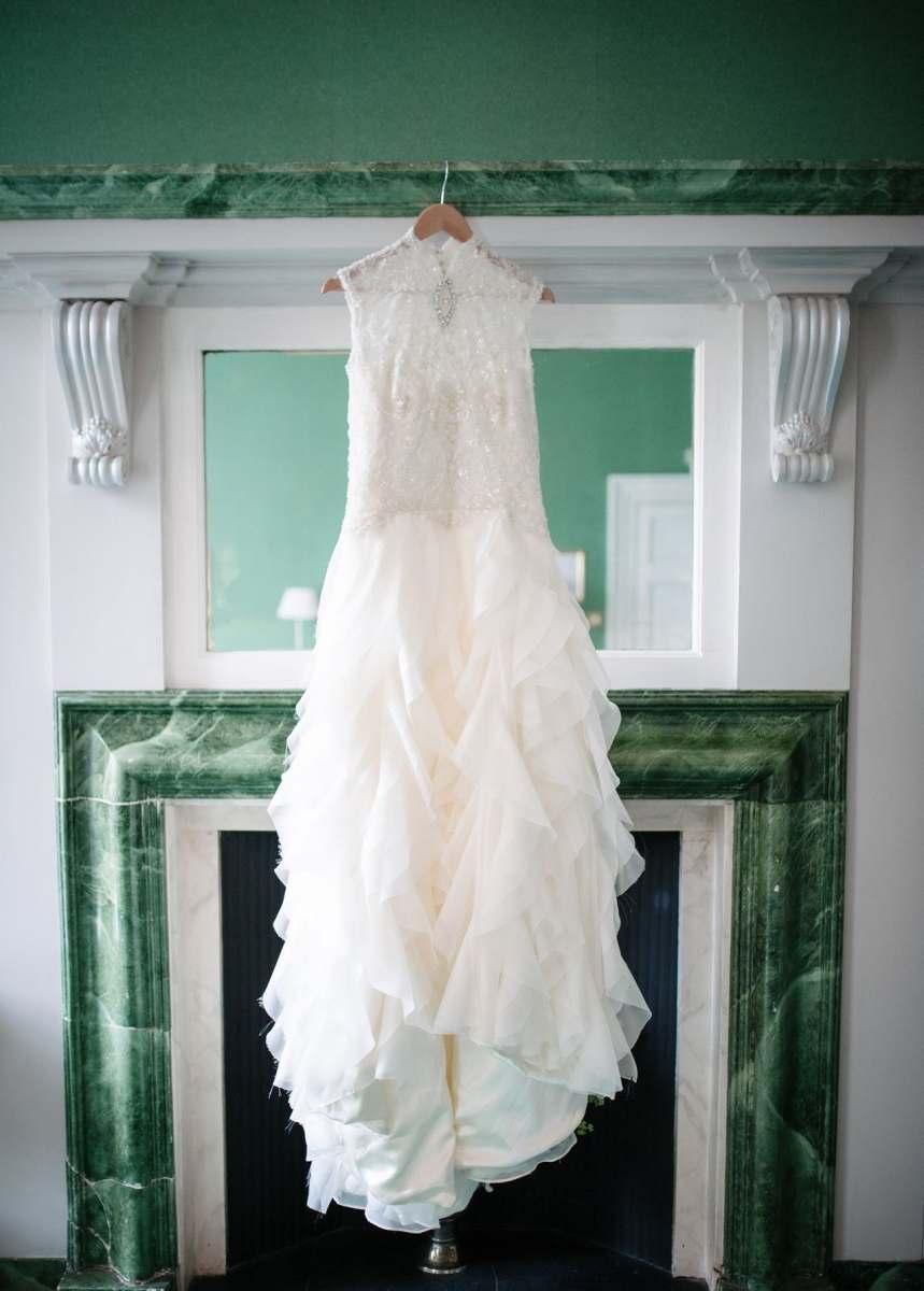 tulle ruffles wedding dress