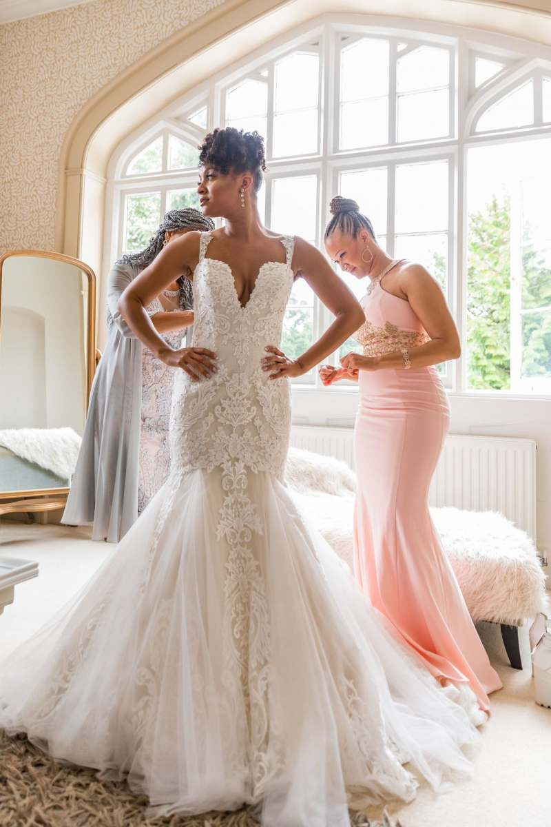 bespoke fit and flare wedding dress