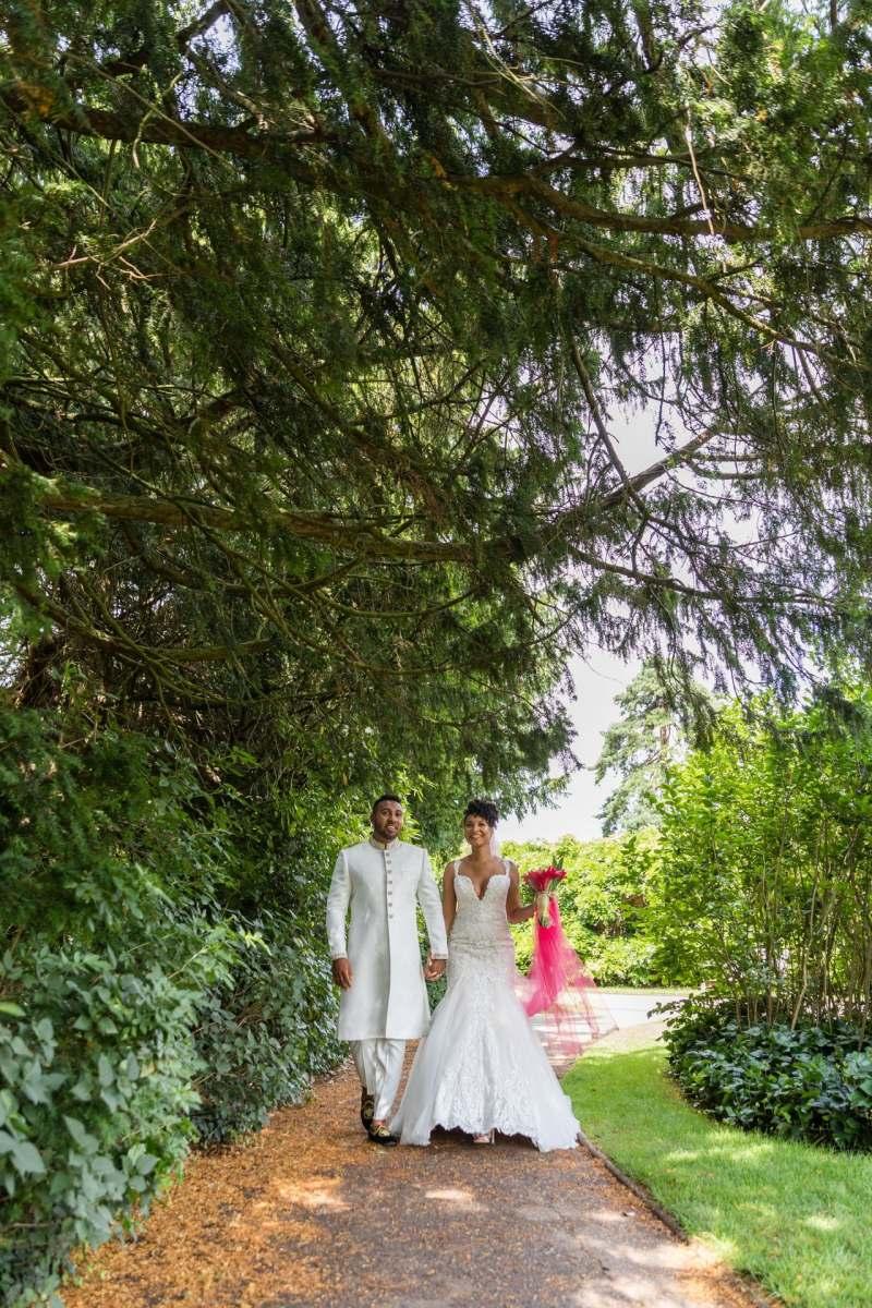bride walking down the park