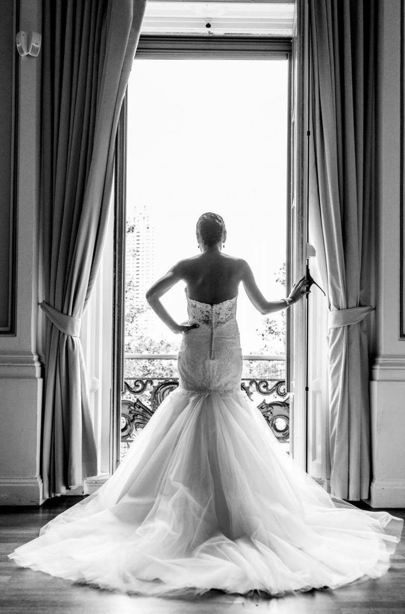 fitted wedding dress with tulle skirt