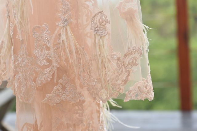 feather details on wedding dress