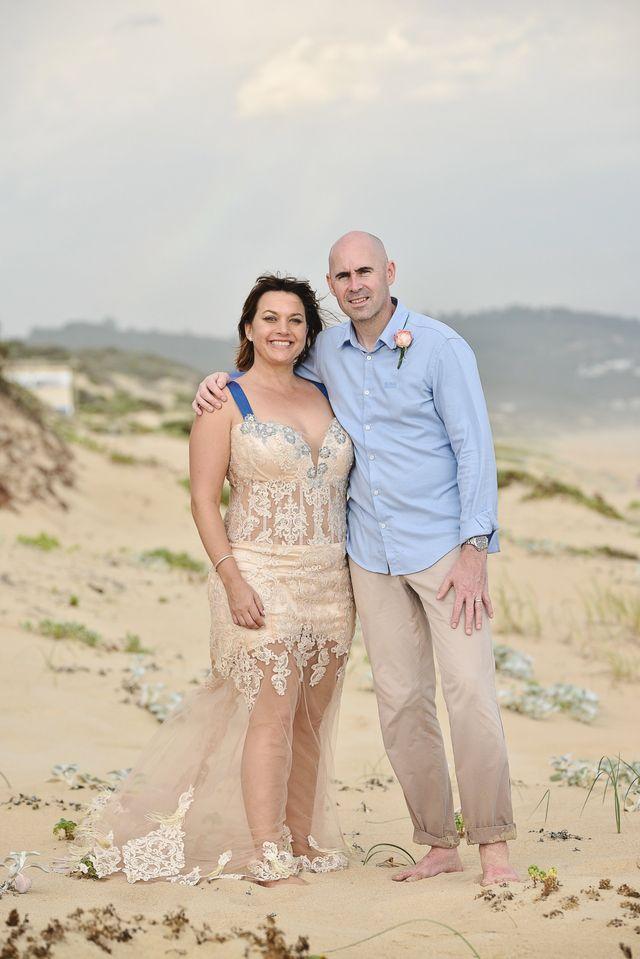 beach gold wedding dress
