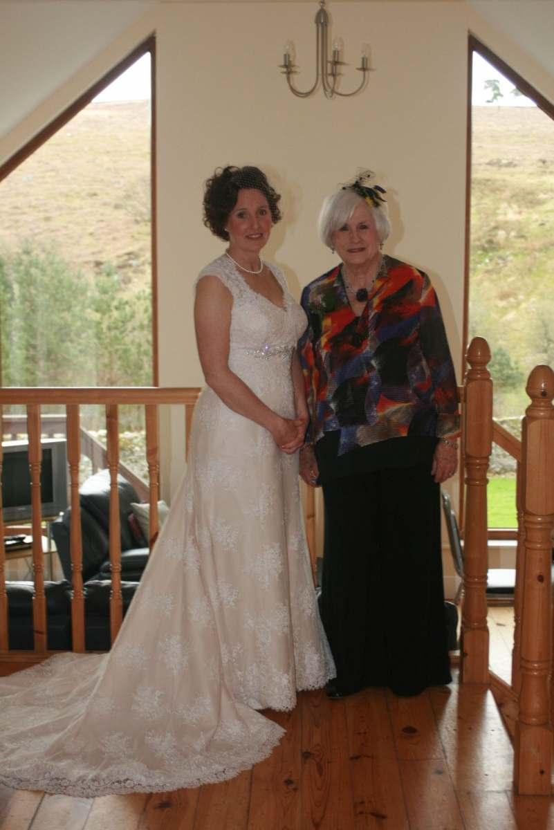 blush lace wedding dress