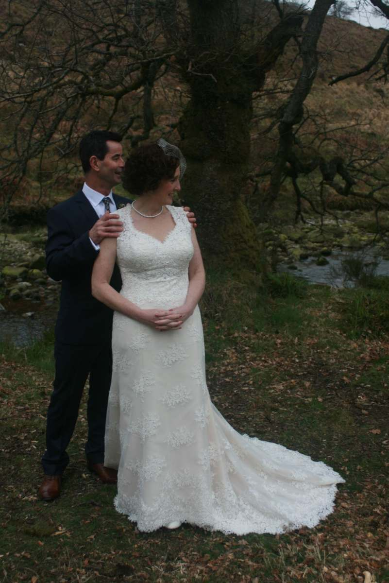 blush and ivory wedding dress